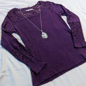 3/$20 Maurices Long Sleeve Lace Trim Tee - Purple